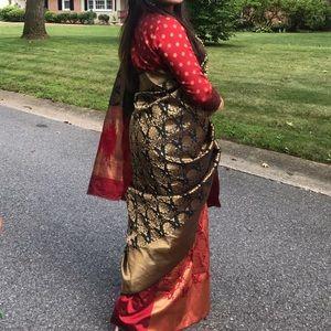 Dresses & Skirts - Black and red saree/saris Indian outfits